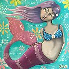 Whimsical Purple Mermaid Girl on Teal - Teen Room Decor by erica lubee  ~ SkyBlueWithDaisies