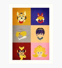 Smash Bros Melee Top Tier Faces Art Print