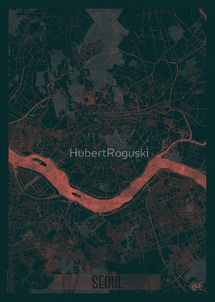 Seoul Map Red by HubertRoguski