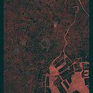 Tokyo Map Red by HubertRoguski