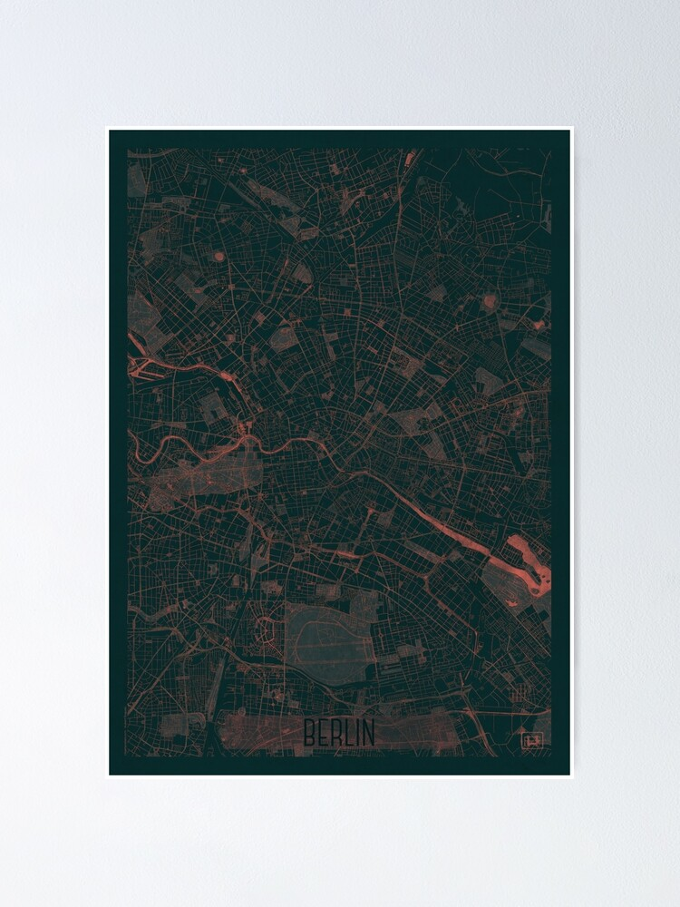 Alternate view of Berlin Map Red Poster