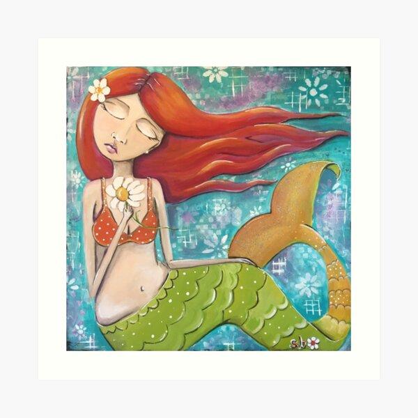 Whimsical Mermaid Girl with Red Hair on Teal - Girls Room Decor Art Print