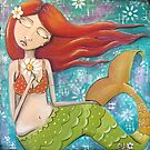 Whimsical Mermaid Girl with Red Hair on Teal - Girls Room Decor by erica lubee  ~ SkyBlueWithDaisies