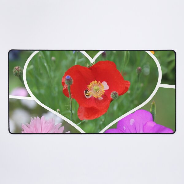 My Heart is Filled with Flowers Photo Collage Desk Mat