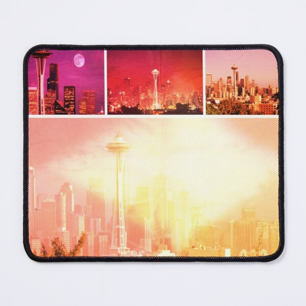 Shades of Red Space Needle Collage Mouse Pad