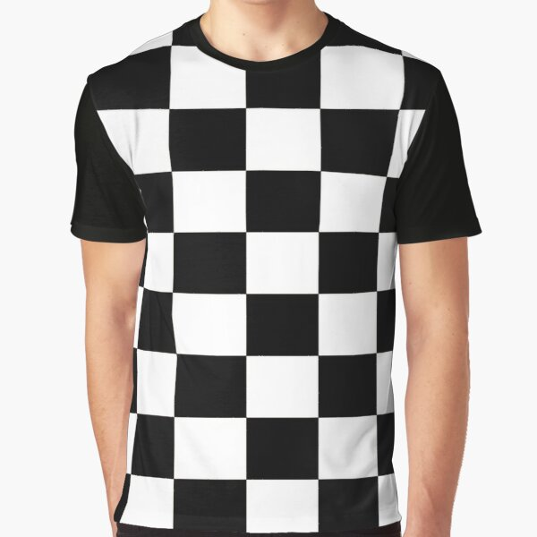 Black and White Checkerboard Graphic T-Shirt