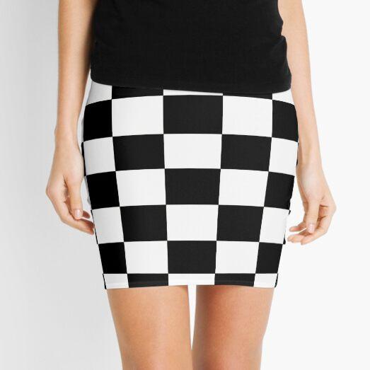 Black and White Checkerboard Mini Skirt