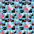 Graphic pattern with lovers cats by Tanor