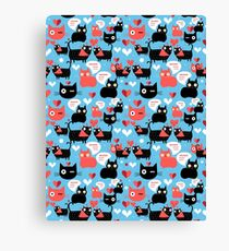Graphic pattern with lovers cats Canvas Print
