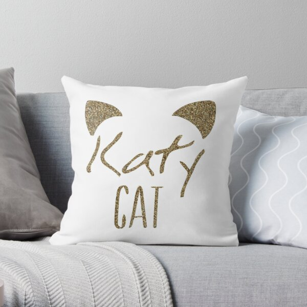 KatyCat Golden Glitter Throw Pillow