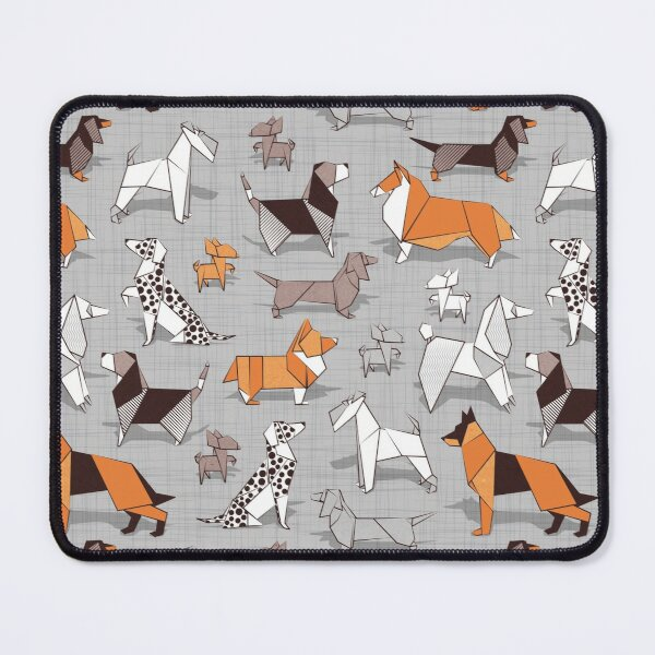 Origami doggie friends // grey linen texture background Mouse Pad