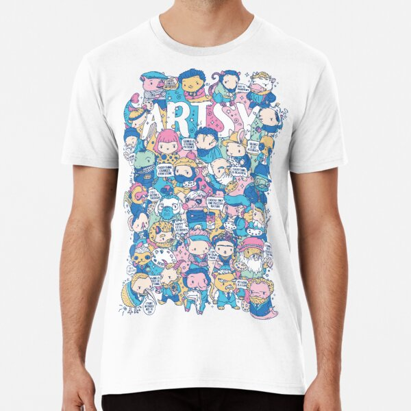 Artsy Doodle style artist animals puns characters Premium T-Shirt