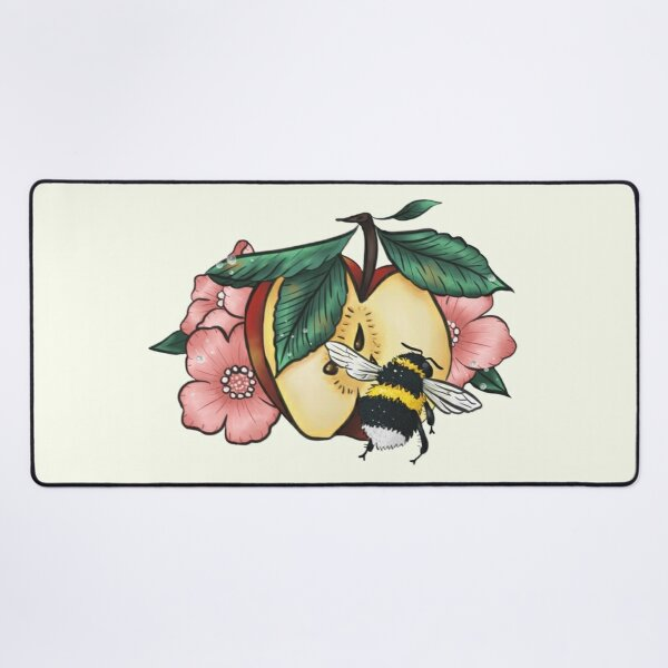Dew speckled apple blossoms attract bumblebee Desk Mat