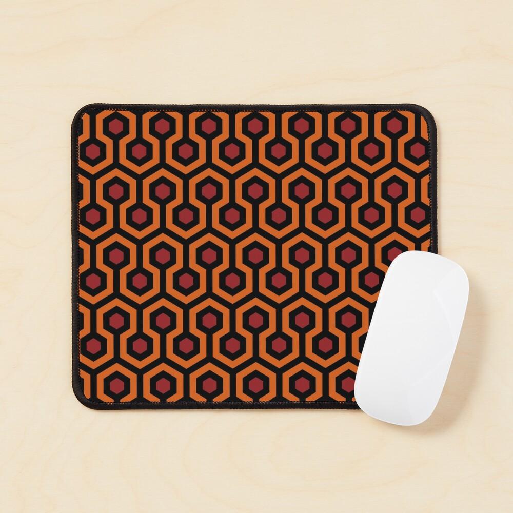 Geometric Pattern: Looped Hexagons: Orange/Red/Black Mouse Pad