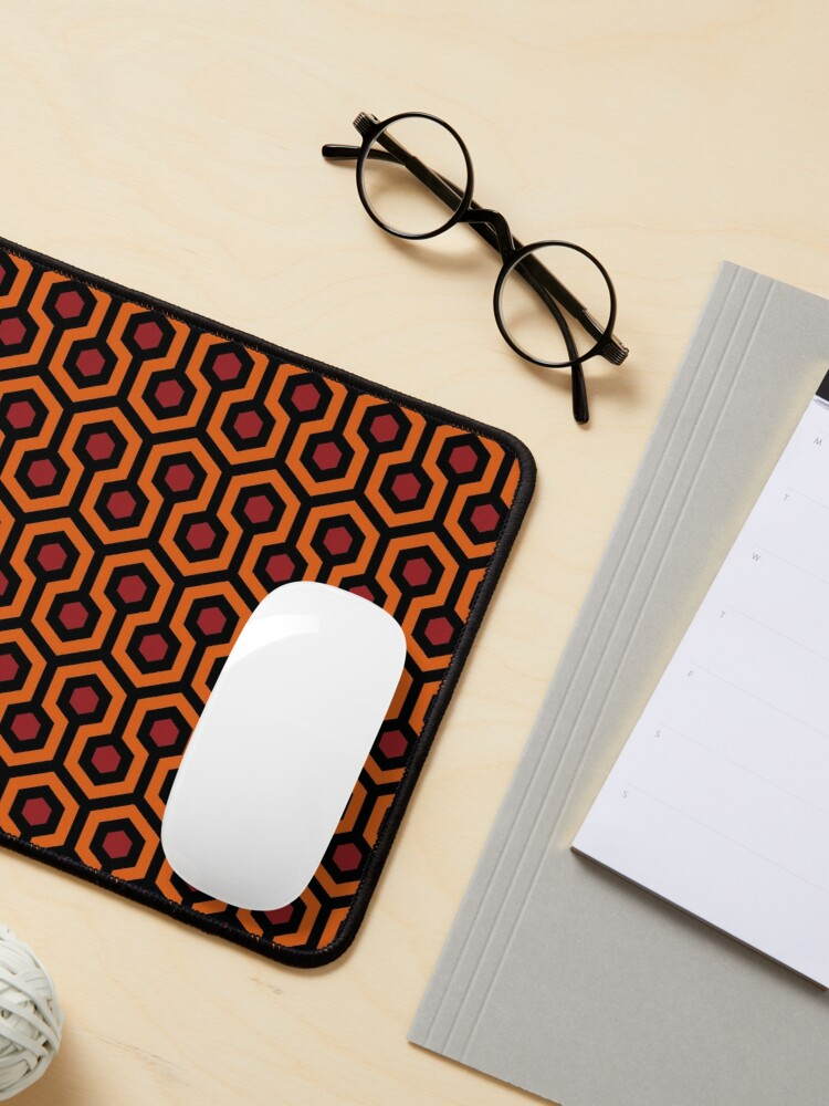 Alternate view of Geometric Pattern: Looped Hexagons: Orange/Red/Black Mouse Pad