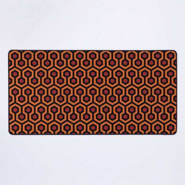 Geometric Pattern: Looped Hexagons: Orange/Red/Black Desk Mat