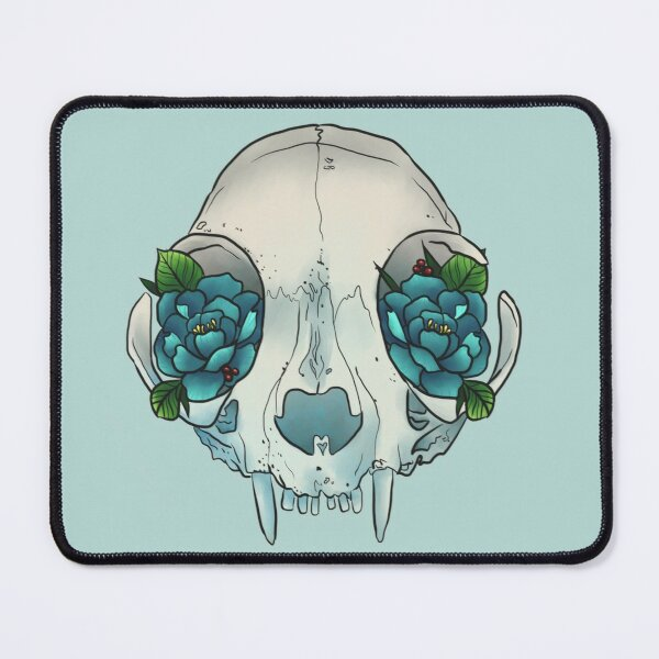 Cat skull sees roses Mouse Pad