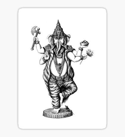 God Ganesha ink pen drawing Sticker