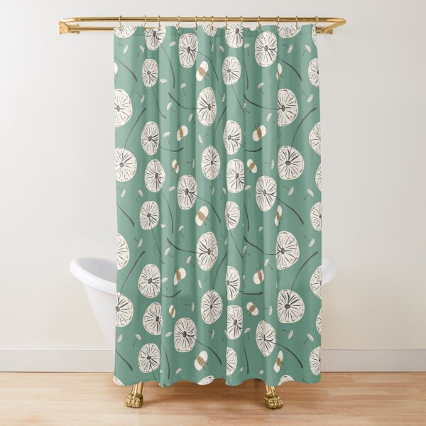 Modern Dandelion and Bumble Bee Print Shower Curtain