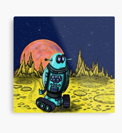 Lonely robot on remote planet darwing Metal Print