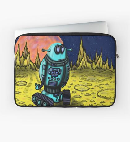 Lonely robot on remote planet darwing Laptop Sleeve