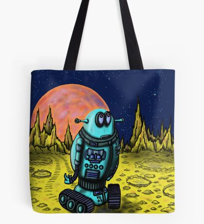 Lonely robot on remote planet darwing Tote Bag