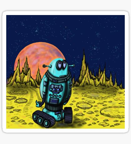 Lonely robot on remote planet darwing Sticker