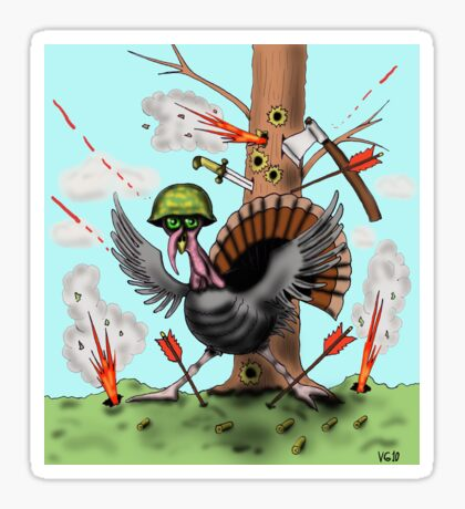 Funny Thanksgiving turkey drawing Sticker