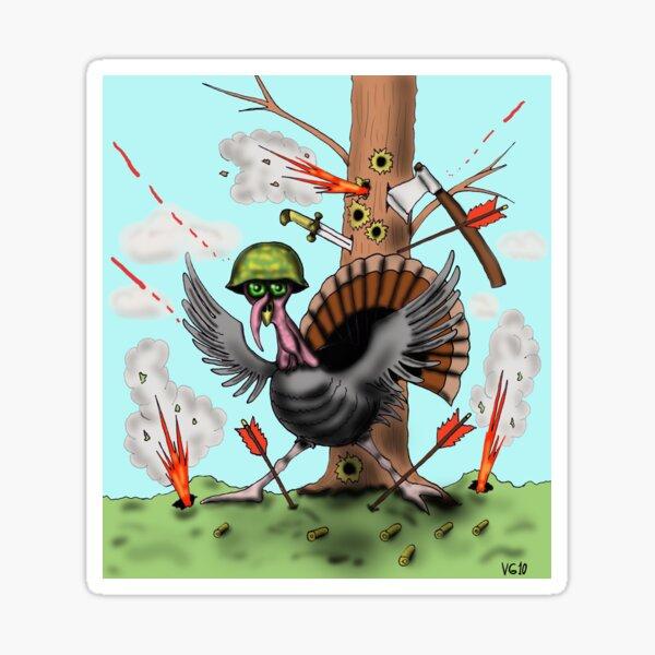 Funny Thanksgiving turkey drawing Sticker