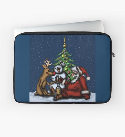 Funny Christmas Drinking Party drawing Laptop Sleeve