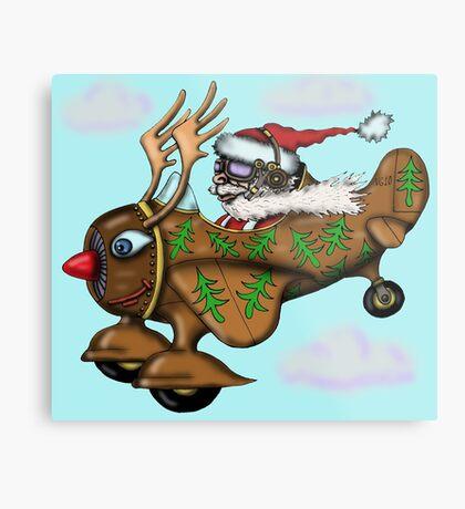 Funny Santa on Rudolph plane drawing Metal Print