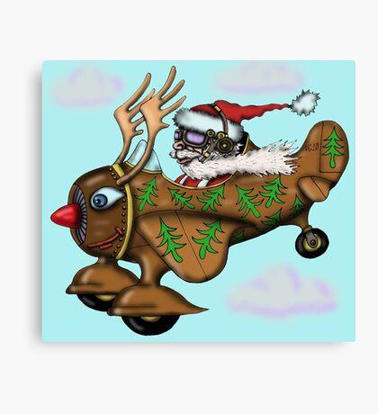 Funny Santa on Rudolph plane drawing Canvas Print