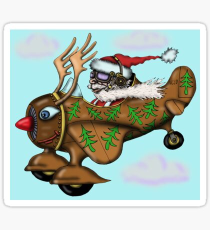 Funny Santa on Rudolph plane drawing Sticker