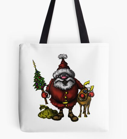 Funny Santa Claus with Rudolph drawing Tote Bag