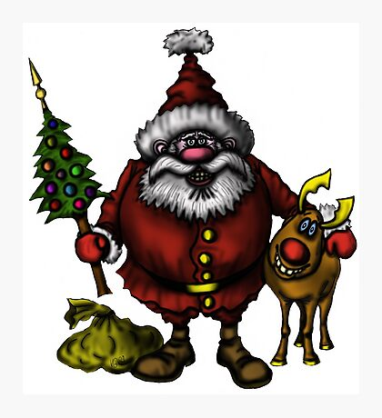 Funny Santa Claus with Rudolph drawing Photographic Print