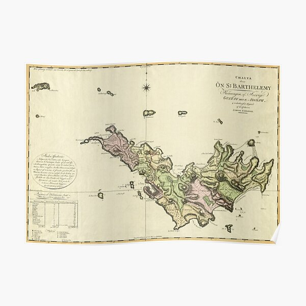 Map Of Saint Barts 1801 Poster