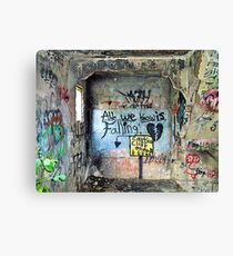 """Ghost Town of Broken Hearts in Ruins:   """"All We Know is Falling </3 Caution Cliff Ahead"""" Canvas Print"""