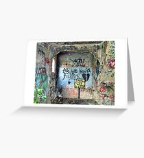 """Ghost Town of Broken Hearts in Ruins:   """"All We Know is Falling </3 Caution Cliff Ahead"""" Greeting Card"""