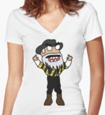 angry zombie yosef Women's Fitted V-Neck T-Shirt