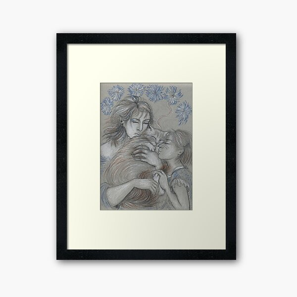 Mother, Daughter, Cat with Blue Flowers Framed Art Print
