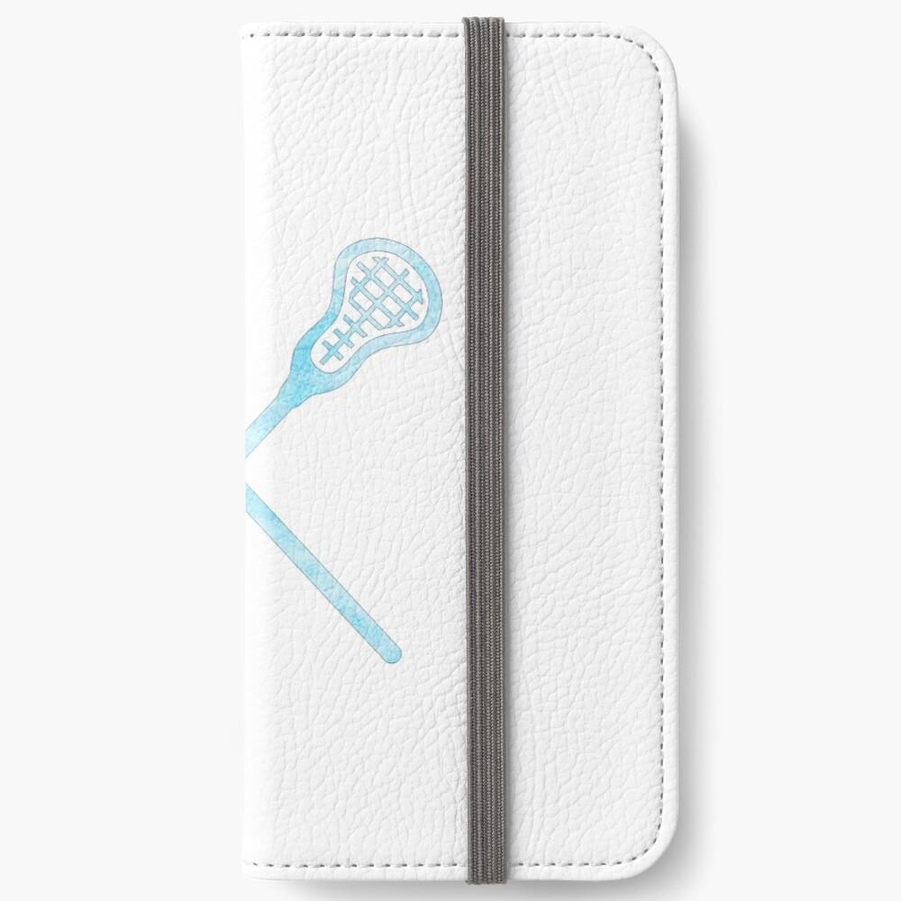 Lacrosse-Stock hellblau iPhone Flip-Case