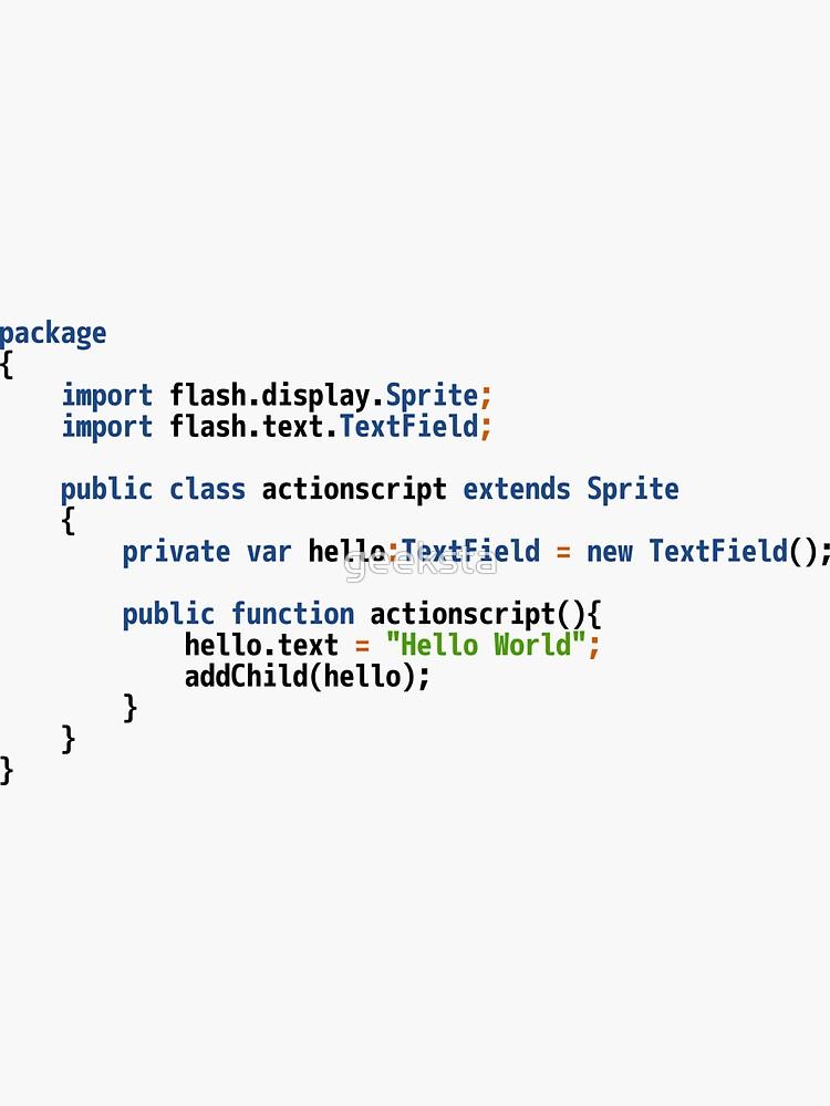 Hello World ActionScript Code - Light Syntax Scheme Coder Design by geeksta