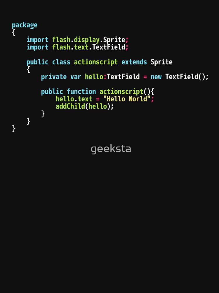 Hello World ActionScript Code - Dark Syntax Scheme Coder Design by geeksta