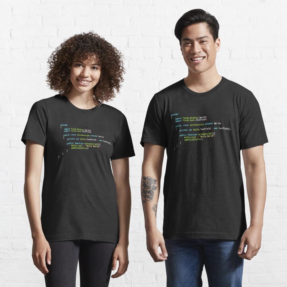 Hello World ActionScript Code - Dark Syntax Scheme Coder Design Essential T-Shirt