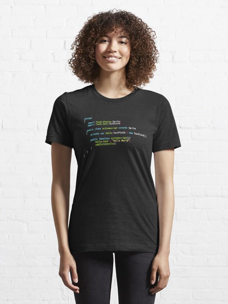 Alternate view of Hello World ActionScript Code - Dark Syntax Scheme Coder Design Essential T-Shirt