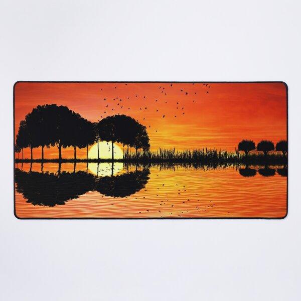 guitar island sunset Desk Mat
