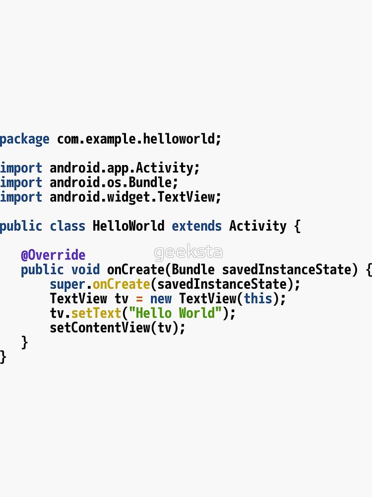 Hello World Android Code - Light Syntax Scheme Coder Design by geeksta