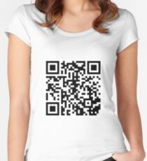 Rickroll QR Code Women's Fitted Scoop T-Shirt