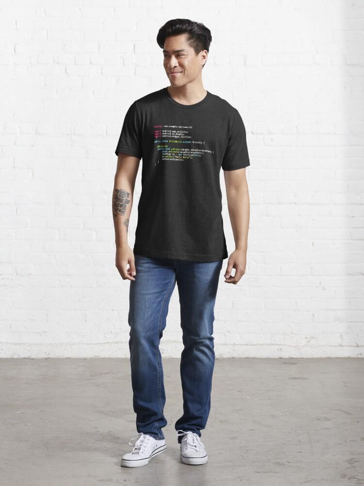 Alternate view of Hello World Android Code - Dark Syntax Scheme Coder Design Essential T-Shirt
