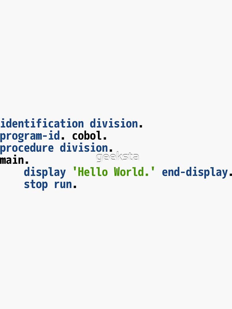 Hello World COBOL Code - Light Syntax Scheme Coder Design by geeksta